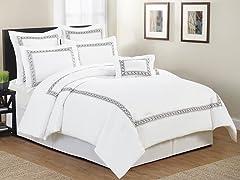 Ramsey Hotel Leaves Embellished 7 Piece Comforter Set- Queen