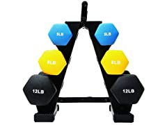 BalanceFrom Colored Dumbbell Set 50lb