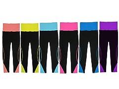 6Pk Fold-Over Waist Sports Leggings