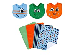 Trend Lab Bib & Burp Cloth Set - Snuggle Monster