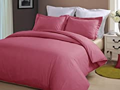 Hotel Peninsula Duvet Set-Burgundy-2 Sizes