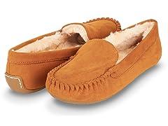 Womens Basic Faux Fur Moccasin Slipper, Chestnut