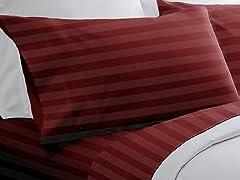 300TC Egyptian Cotton Sheet Set-Burgundy-5 Sizes