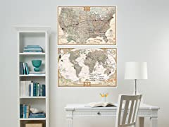 Nat. Geo Dry Erase USA and World Map