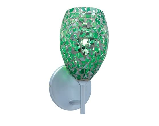 Moz 1-Light Emerald Mosaic Glass Wall Chrome Wall Sconce