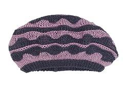Anne Klein Scallop Stripe Slouch Beret, Purple/Grey