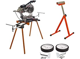 Bora Portamate Heavy Duty Folding Miter Saw Stand with Wheel Kit and Adjustable Pedestal Roller