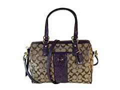 Coach Signature Satchel, Khaki/Purple