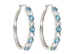 Created White Sapphire & Genuine Topaz Hoop Earring