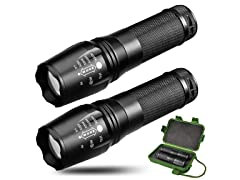 Army Gear Elite 800 Lumen Tactical Flashlight 2-Pack