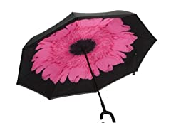 Reverse Opening Umbrella, Black/Pink Flower