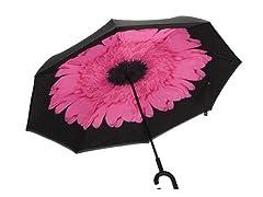 Reverse Opening Umbrella, Black/Pink Flower