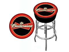 Budweiser Bowtie Red/Black Bar Stool