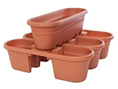 4PK Rail Planter, 21-Inch, Terra Cotta