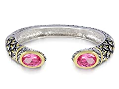 Regal Jewelry 18K Gold-Plated Simulated Diamond Ruby Color Bangle With Design
