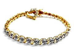 18K Gold-Plated SS Flower Diamond Accent w/ Charm Heart Tennis Bracelet