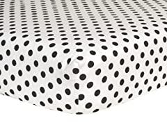 Black Dot Flannel Crib Sheet