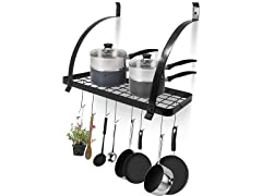 Sorbus Wall Mount Pot Rack, Black