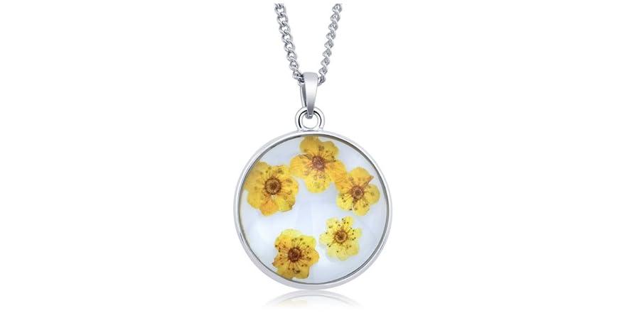 Beverly Hills Silver Glass Genuine Jasmine Necklace