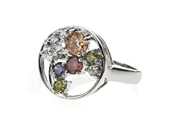 18k White Gold Plated Round CZ Ring