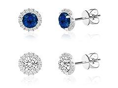 Set of 2 5.80 CTTW Swarovski Elements Halo Stud Earrings