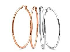 2-Pack Rose Gold Plated Hoop Earrings