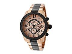 Invicta Men's Chronograph, 18K Rose/Blk.