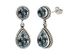 SS Balinese Round & Pear Shape Blue Topaz Gemstone Dangle Earrings