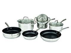 Two-Tone 10-Pc Stainless Cookware Set