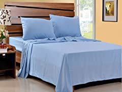 Microfiber Sheet Set-Set of 2-Light Blue-4 Sizes