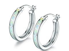 18K White Gold Plated Fire Opal Hoop Earrings