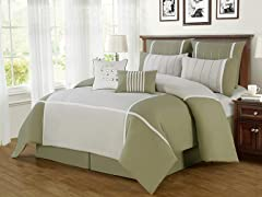 8-Pc Royalton Comforter Set- Sage (Multiple Sizes)