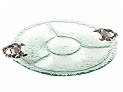Thirstystone Crab 4-section Glass Serving Bowl