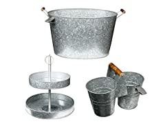 Galvanized Kit with Party Tub, Caddy & 2 Tier Cake Stand