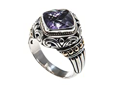 18kt Gold Accent Square Amethyst Ring