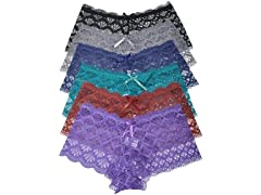 Lace Cheeky Boxer Panties (6-Pack)