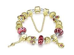 Gold & Milk Ruby Charm Bracelet