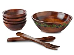 "Engraved 12"" Salad Bowl 7-pc Set"