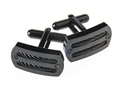 Black Plated Cable Cufflinks