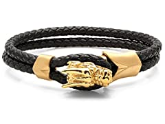 Braided Leather Bracelet w/ Dragon