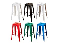 "Pair of 30"" Metal Stacking Stools (6 colors)"