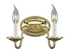 2-Light Wall Bracket, Polished Brass