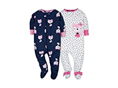Gerber Baby Girls 2 Pack Zip Front Sleep n Play