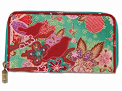 Boho Birds & Cherry Blossom Wallet, Teal