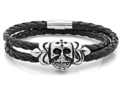Braided Wrap Bracelet w/ Skull Accent