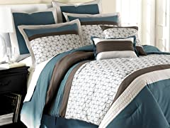8pc Comforter Set - Chantal Blue - Queen