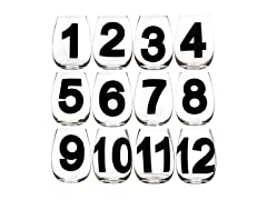 Numbered Stemless Wine Glass - Set of 12