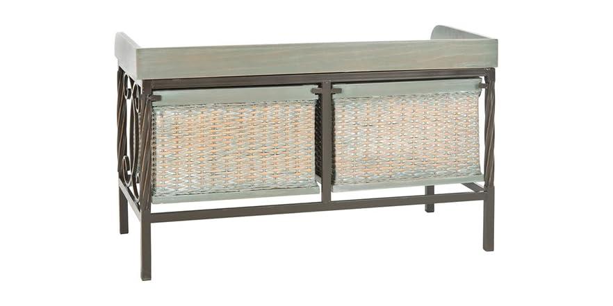 Noah Wooden Storage Bench Grey