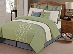 8-Pc Taylor Comforter Set- Sage (Multiple Sizes)