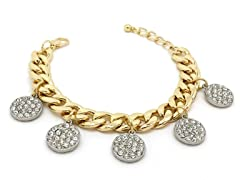 Clear Circle Crystal Pave Cuban Chain Bracelet